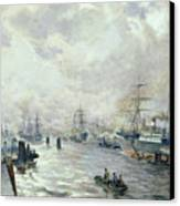 Sailing Ships In The Port Of Hamburg Canvas Print by Carl Rodeck