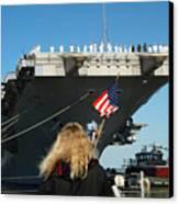 Sailors Aboard Aircraft Carrier Uss Canvas Print by Stocktrek Images