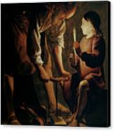 Saint Joseph The Carpenter  Canvas Print by Georges de la Tour