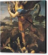 Saint Michael Overwhelming The Demon Canvas Print by Raphael
