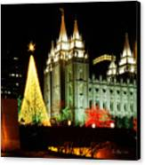 Salt Lake Temple Christmas Tree Canvas Print by La Rae  Roberts