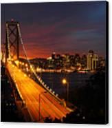 San Francisco Bay Bridge At Sunset Canvas Print by Pierre Leclerc Photography