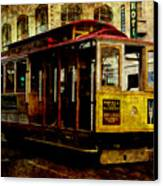 San Francisco Cable Car . Texture Canvas Print by Wingsdomain Art and Photography