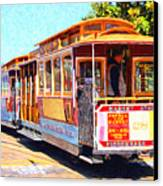 San Francisco Cablecar At Fishermans Wharf . 7d14097 Canvas Print by Wingsdomain Art and Photography