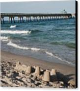 Sand Castles And Piers Canvas Print by Rob Hans