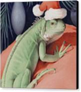 Santa Claws - Bob The Lizard Canvas Print by Amy S Turner