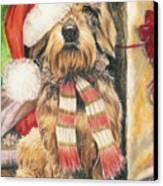 Santas Little Yelper Canvas Print by Barbara Keith