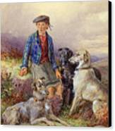 Scottish Boy With Wolfhounds In A Highland Landscape Canvas Print by James Jnr Hardy