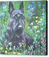 Scottish Terrier In The Garden Canvas Print by Lee Ann Shepard