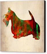 Scottish Terrier Watercolor 2 Canvas Print by Naxart Studio