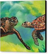 Sea Turtles And Dolphins Canvas Print by Susan Kubes