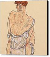 Seated Woman In Underwear Canvas Print by Egon Schiele