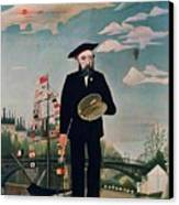 Self Portrait From Lile Saint Louis Canvas Print by Henri Rousseau
