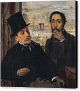Self Portrait With Evariste De Valernes Canvas Print by Edgar Degas