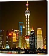 Shanghai By Night Canvas Print by Dorota Nowak