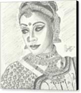Shobana Chandrakumar-bharatanatyam Dancer Canvas Print by Priya Paul