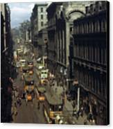 Shoppers And Trams Clog Renfield Street Canvas Print by B. Anthony Stewart