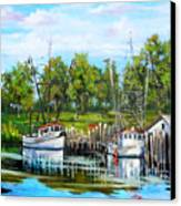 Shrimping Boats Canvas Print by Dianne Parks