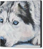 Siberian Husky Up Close Canvas Print by Lee Ann Shepard