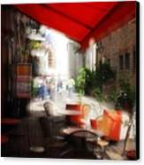 Sidewalk Cafe In Red Canvas Print by Wayne Archer