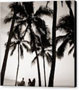 Silhouetted Surfers - Sep Canvas Print by Dana Edmunds - Printscapes