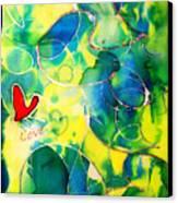 Silk Painting With A Heart  Canvas Print by Alexandra Jordankova