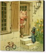 Singing Piglet Canvas Print by Kestutis Kasparavicius