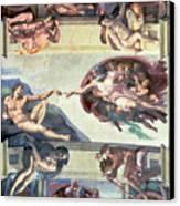 Sistine Chapel Ceiling Creation Of Adam Canvas Print by Michelangelo