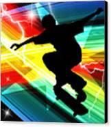 Skateboarder In Criss Cross Lightning Canvas Print by Elaine Plesser