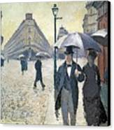 Sketch For Paris A Rainy Day Canvas Print by Gustave Caillebotte