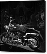 Skull Harley Canvas Print by Tim Dangaran