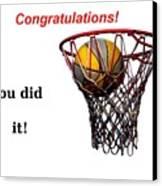 Slam Dunk Congratulations Greeting Card Canvas Print by Yali Shi