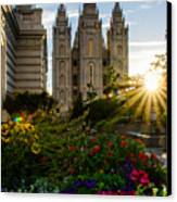 Slc Temple Sunburst Canvas Print by La Rae  Roberts