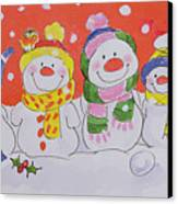 Snow Family Canvas Print by Diane Matthes