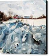 Snow On Southwick Canvas Print by Elizabeth Carr