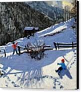 Snowballers Canvas Print by Andrew Macara