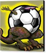 Soccer Saurus Rex Canvas Print by Kevin Middleton