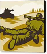 Soldier Aiming Bazooka Canvas Print by Aloysius Patrimonio