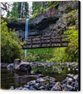 South Silver Falls With Bridge Canvas Print by Darcy Michaelchuk