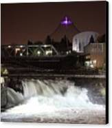 Spokane Falls Night Scene Canvas Print by Carol Groenen