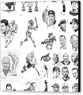 Sports Figures Collage Canvas Print by Murphy Elliott