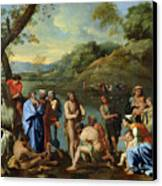 St John Baptising The People Canvas Print by Nicolas Poussin