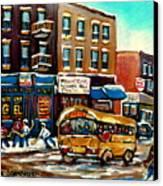 St. Viateur Bagel With Hockey Bus  Canvas Print by Carole Spandau