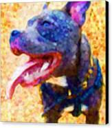 Staffordshire Bull Terrier In Oil Canvas Print by Michael Tompsett