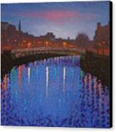 Starry Nights In Dublin Ha' Penny Bridge Canvas Print by John  Nolan