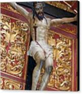 Statue Of The Crucifixion Inside The Catedral De Cordoba Canvas Print by Sami Sarkis
