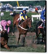 Steeplechase Spill - 1 Canvas Print by Randy Muir