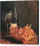 Still Life With Wine And Grapes Canvas Print by Anna Rose Bain