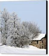 Stone House In Winter Canvas Print by Gary Gunderson