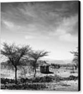 Stone Hut Set In Grassland Plains Canvas Print by David DuChemin